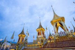 Exhibition on royal cremation ceremony,Sanam Luang ,Bangkok,Thailand on November7,2017: Royal Crematorium for the Royal Cremation royalty free stock photos