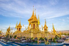 Exhibition on royal cremation ceremony,Sanam Luang Ceremonial Ground,Bangkok,Thailand on November25,2017: Royal Crematorium for th stock images
