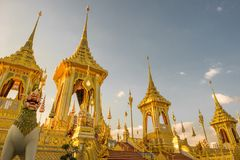 Exhibition of the Royal Crematorium for His Majesty the late King Bhumibol Adulyade at Sanam Luang,Bangkok,Thailand. Golden Pyre, statues and decorations at the Stock Photo