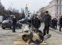 Exhibition of Russian weapons in Kiev Stock Image