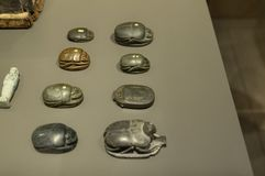 Exhibition of sacred scarabs stock photo