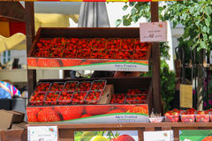 Exhibition sale of fruits on Rynok Square in historic city centr Royalty Free Stock Photo