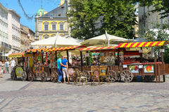 Exhibition sale on Rynok Square in historic city centre. Lviv, Royalty Free Stock Photo