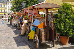 Exhibition sale of souvenirs on Rynok Square in Lviv, Ukraine Royalty Free Stock Images