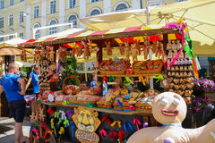 Exhibition sale of sweets on Rynok Square in historic city centr Royalty Free Stock Photography