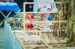 Exhibition-sale of vintage jewelry handmade. royalty free stock photo