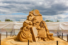 The exhibition of sand sculptures. Stock Photography