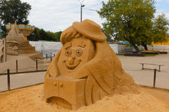 The exhibition of sand sculptures. Stock Photos