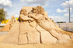 The exhibition of sand sculptures. Sculpture Assyria. MOSCOW, RUSSIA - August 18.2013: Exhibition of sculptures made of sand in Kolomenskoye city park. Sculpture Royalty Free Stock Images