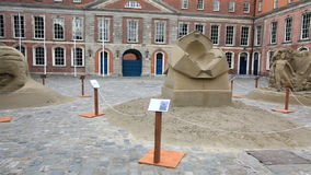 Exhibition of sand sculptures. In the Upper Yard in Dublin Castle stock footage
