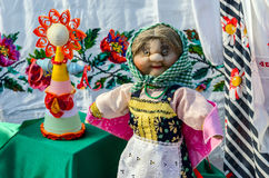 Exhibition Shrovetide doll Stock Photo