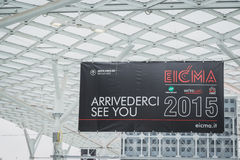 Exhibition sign at EICMA 2014 in Milan, Italy Stock Image