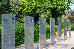 Exhibition silent voices in the Festival Park of Bayreuth royalty free stock photos
