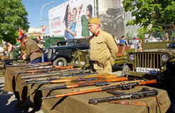Exhibition of small arms of World War II. Celebrating the Victory Day. Rostov-on-Don, Russia. May 9, 2013 Royalty Free Stock Images