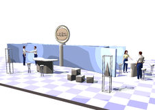 Exhibition stand. A illustration with exhibition stand. made with cinema 4d and rendert in an cartoon style Stock Image