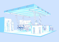 Exhibition stand. Illustration of a exhibition stand.rendert with cinema 4d Royalty Free Stock Image