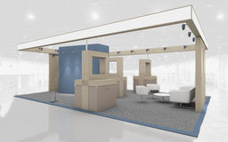 Exhibition Stand in Blue and Beige colors 3d Rendering Stock Photos