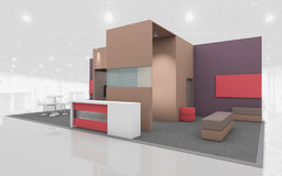 Exhibition Stand in Brown and Beige colors 3d Rendring Stock Image