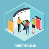 Exhibition stand concept vector flat isometric illustration. Exhibition stand concept vector flat 3d illustration. Isometric trade show booth display stand stock illustration