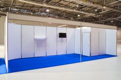 Exhibition stand design equipment in business centre. Exhibition stand design equipment. Booth template, Empty exhibition kiosk, with copy space, futuristic stock photos