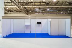 Exhibition stand design equipment in business centre. Exhibition stand design equipment. Booth template, Empty exhibition kiosk, with copy space, futuristic stock images
