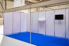 Exhibition stand design equipment in business centre. Exhibition stand design equipment. Booth template, Empty exhibition kiosk, with copy space, futuristic royalty free stock photography