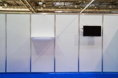 Exhibition stand design equipment in business centre. Exhibition stand design equipment. Booth template, Empty exhibition kiosk, with copy space, futuristic royalty free stock photos