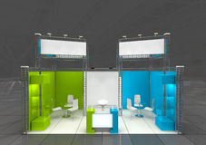 Exhibition stand design. Modern exhibition stand with blank banners