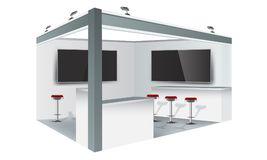 Exhibition stand display trade booth mockup design, white and grey colors. Illustrated vector vector illustration