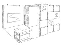 Exhibition Stand Sketch : Exhibition stand contour visualization d illustration stock