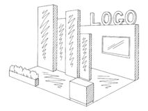 Exhibition stand graphic interior black white sketch illustration vector vector illustration