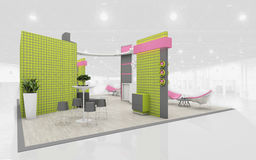 Exhibition Stand in Green and Pink colors  3d Rendering Royalty Free Stock Photography