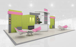 Exhibition Stand in Green and Pink colors  3d Rendering Stock Photos