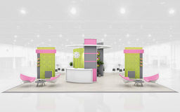 Exhibition Stand in Green and Pink colors  3d Rendering Stock Photography