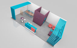Exhibition Stand in Purple and Teal colors 3d Rendering Stock Images