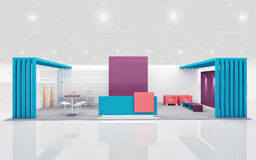 Exhibition Stand in Purple and Teal colors 3d Rendering Royalty Free Stock Photography