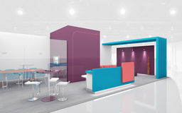 Exhibition Stand in Purple and Teal colors 3d Rendering Stock Photos