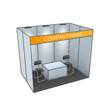 Exhibition stand with table and chairs. Booth template. Vector,  on White Royalty Free Stock Photography