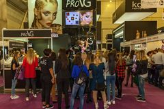 Exhibition stands of cosmetics manufacturers. Ukraine Kiev 22 September 2017: Intercharm Ukraine 2017 exhibition stands of cosmetics manufacturers. Fairs of Stock Photography