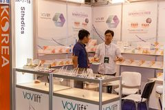 Exhibition stands of cosmetics manufacturers. Ukraine Kiev 22 September 2017: Intercharm Ukraine 2017 exhibition stands of cosmetics manufacturers. Fairs of Royalty Free Stock Image