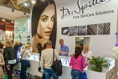 Exhibition stands of cosmetics manufacturers. Ukraine Kiev 22 September 2017: Intercharm Ukraine 2017 exhibition stands of cosmetics manufacturers. Fairs of Stock Photos