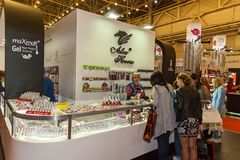 Exhibition stands of cosmetics manufacturers. Ukraine Kiev 22 September 2017: Intercharm Ukraine 2017 exhibition stands of cosmetics manufacturers. Fairs of Royalty Free Stock Images