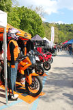 Exhibition stands motorcycling event Stock Photos