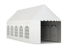 Exhibition tent on white background. 3d rendering Stock Photography