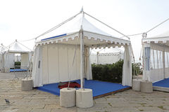 Exhibition Tent. White Canopy Tent for Exibition Event and Party Stock Image