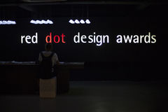 Exhibition with text inside Red dot design museum Royalty Free Stock Image
