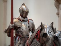 Exhibition of 15th century German plate armor around the time of stock image