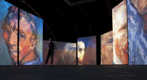 The exhibition Van Gogh Alive. Saint Petersburg. R Royalty Free Stock Photos