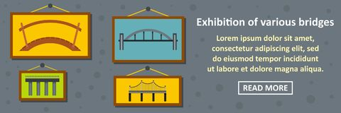Exhibition of various bridges banner horizontal concept. Flat illustration of exhibition of various bridges banner horizontal vector concept for web royalty free illustration