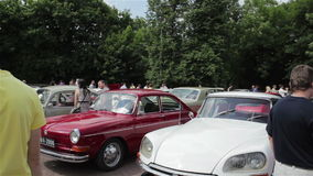 Exhibition of vintage cars stock video footage